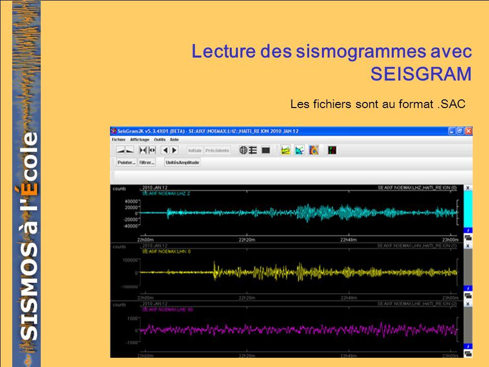 Lecture des sismogrammes avec SEISGRAM Les fichiers sont au format.SAC