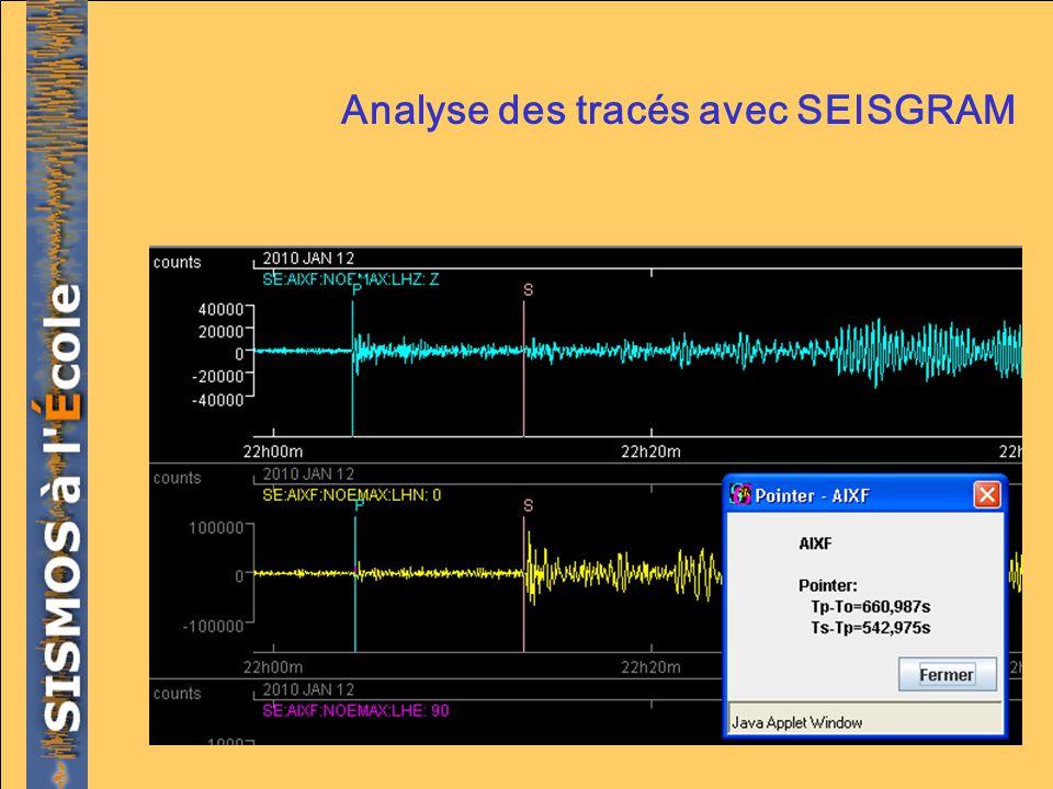 Analyse des tracés avec SEISGRAM