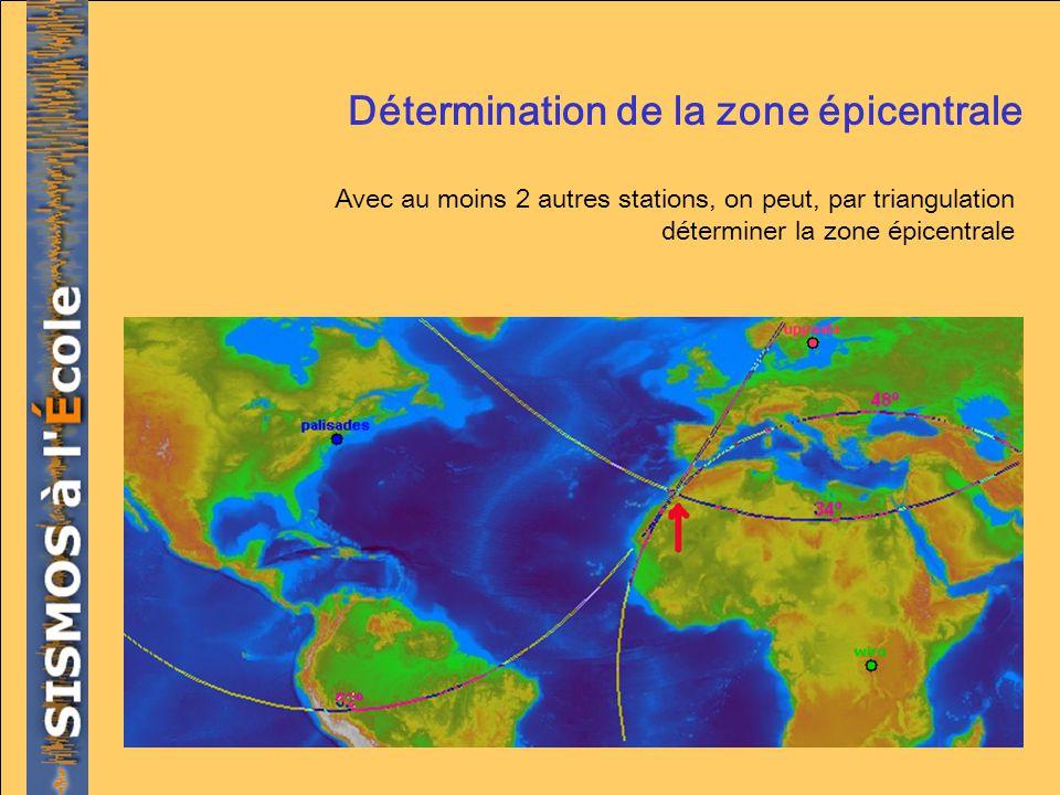 Détermination de la zone épicentrale Avec au moins 2 autres stations, on peut, par triangulation déterminer la zone épicentrale
