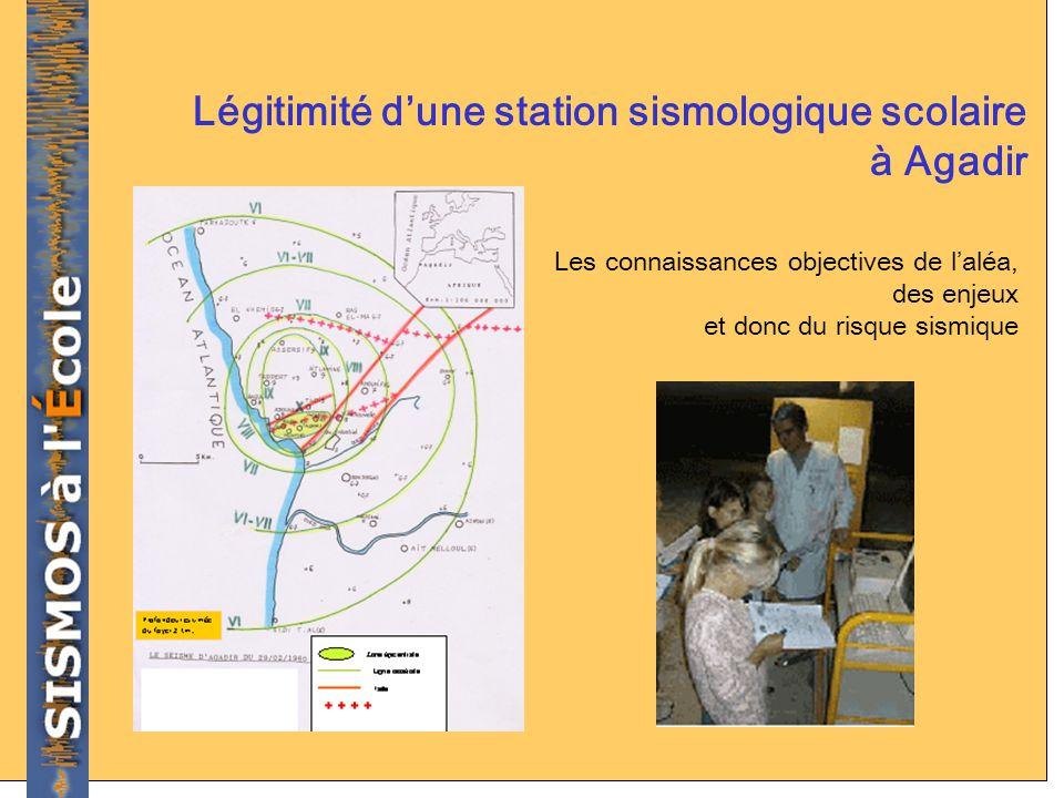 Légitimité dune station sismologique scolaire à Agadir Les connaissances objectives de laléa, des enjeux et donc du risque sismique