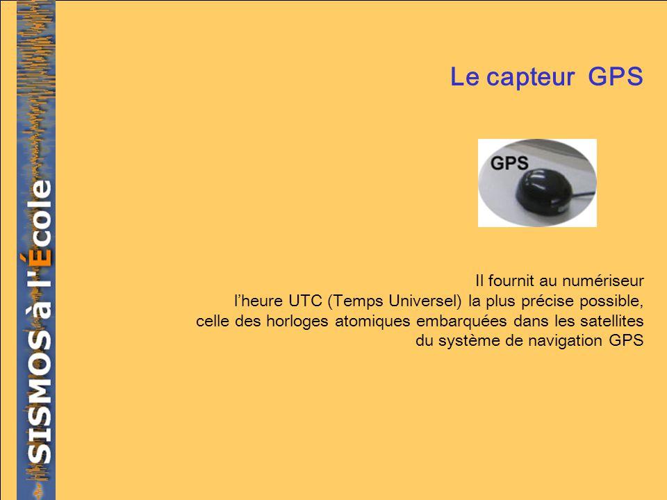 Le capteur GPS Il fournit au numériseur lheure UTC (Temps Universel) la plus précise possible, celle des horloges atomiques embarquées dans les satell