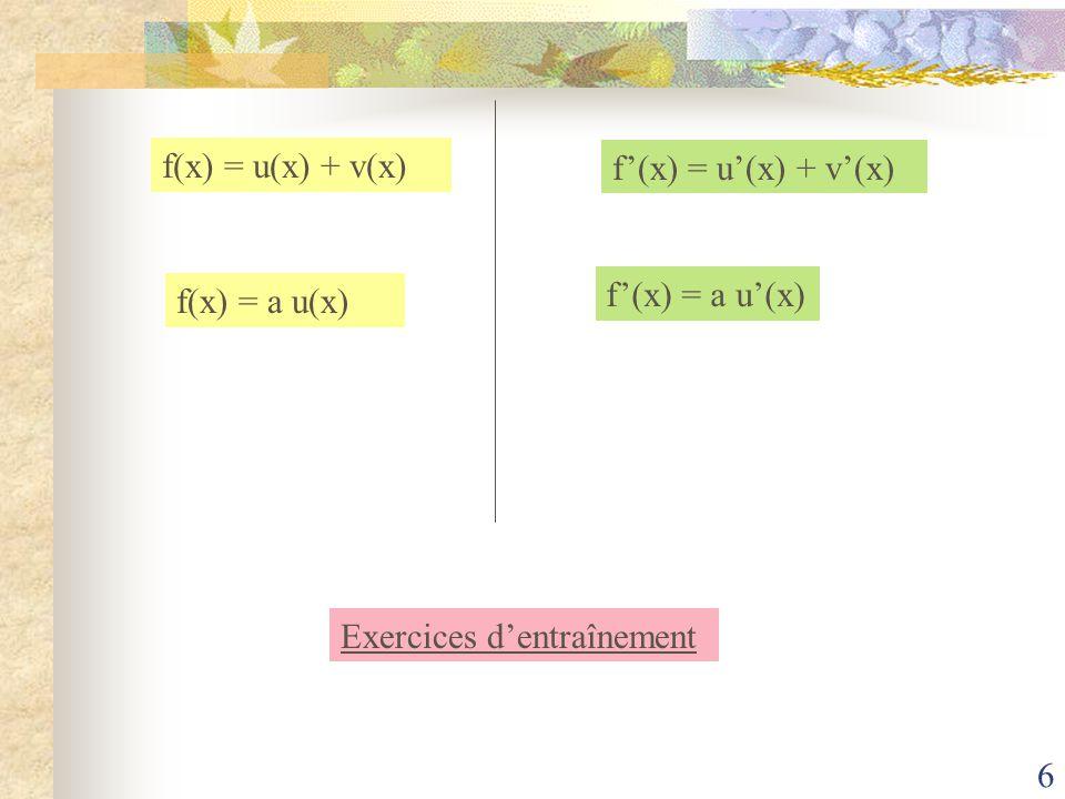 5 Dérivées des fonctions usuelles FonctionsFonctions dérivées f(x)= a.x + ba. x + bf(x) = f(x) = x²2f(x)= x ² f(x) = x 3 x 2 3f(x)= x 1 x 2 - 1