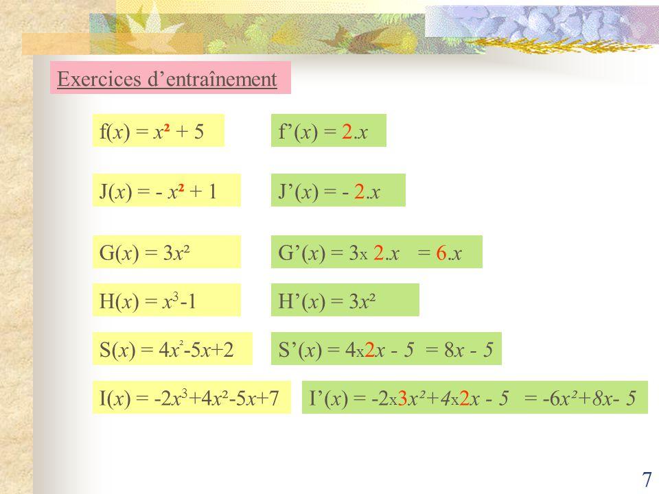6 f(x) = a u(x) Exercices dentraînement f(x) = u(x) + v(x)