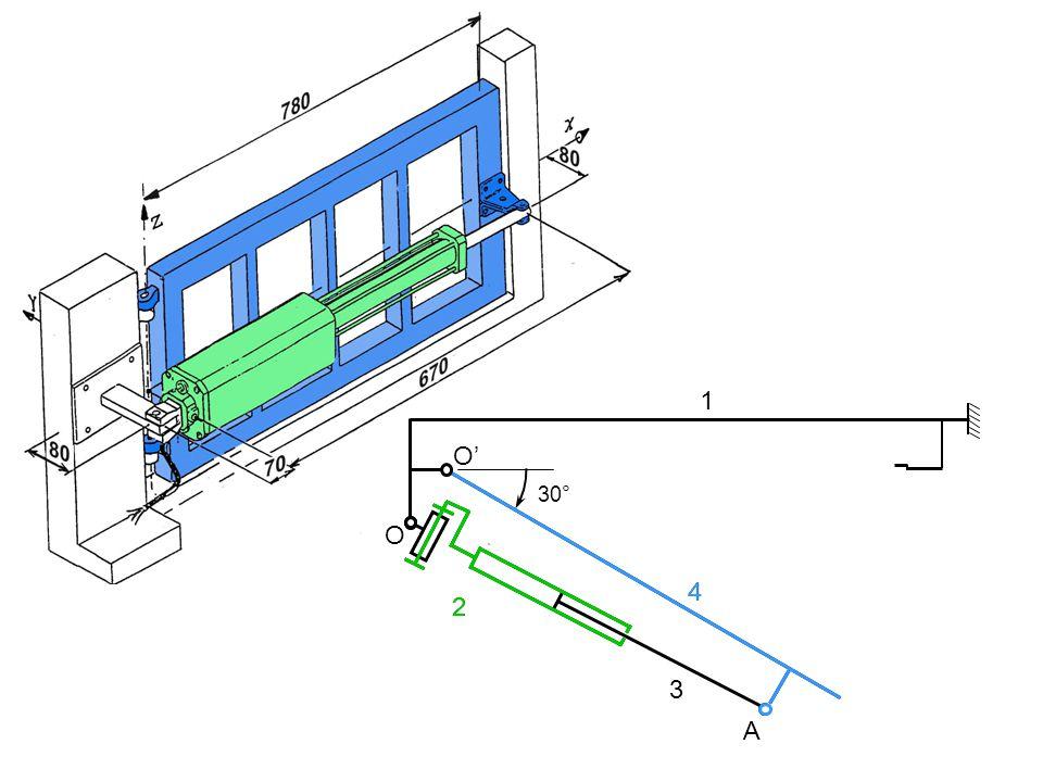 1 2 3 4 O O A 30° Méthode de léquiprojectivité Direction de V(A,4/1) V(A,3/2) Liaison 2/1 : articulation de centre O V(O,2/1) = 0 Liaison 3/2 : glissière de direction à OA V(O,3/2) = V(A,3/2) par ailleurs, V(A,3/2) connue V(O,3/2) Composition des vitesses en O V(O,3/1) = V(O,3/2) + V(O,2/1) = V(O,3/1) Composition des vitesses en A V(A,4/1) = V(A,4/3) + V(A,3/1) = direction de V(A,3/1)