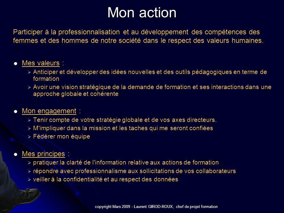 copyright Mars 2009 - Laurent GIROD-ROUX, chef de projet formation Conduire et piloter des projets de formation et proposer à vos collaborateurs des outils adaptés et innovants.