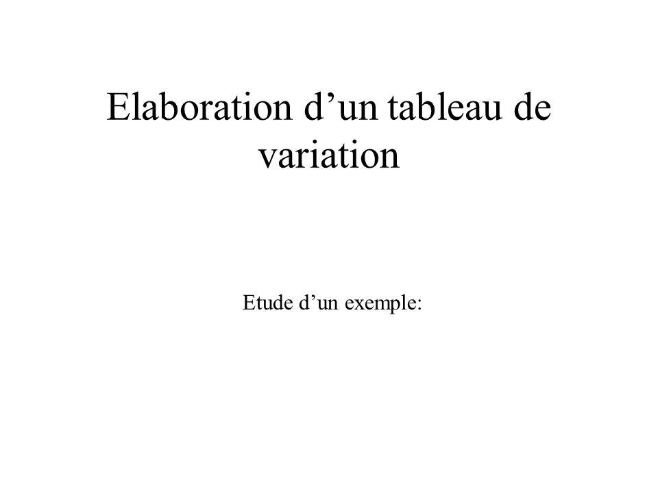 Elaboration dun tableau de variation Etude dun exemple: