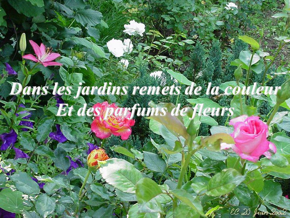 Dans les jardins remets de la couleur Et des parfums de fleurs