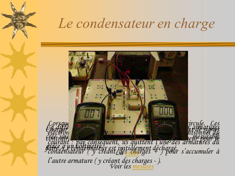 Le condensateur en charge V R=10K G La différence de charges grandissante entre les deux armatures crée une tension qui augmente au cours du temps, me