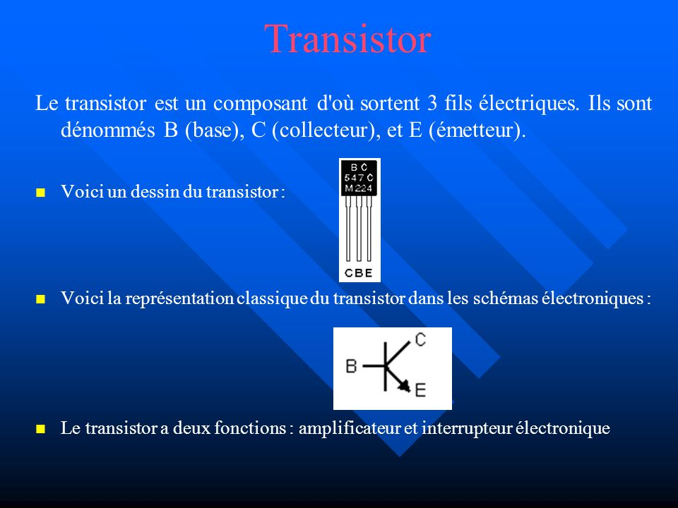Transistor Le transistor est un composant d'où sortent 3 fils électriques. Ils sont dénommés B (base), C (collecteur), et E (émetteur). Voici un dessi