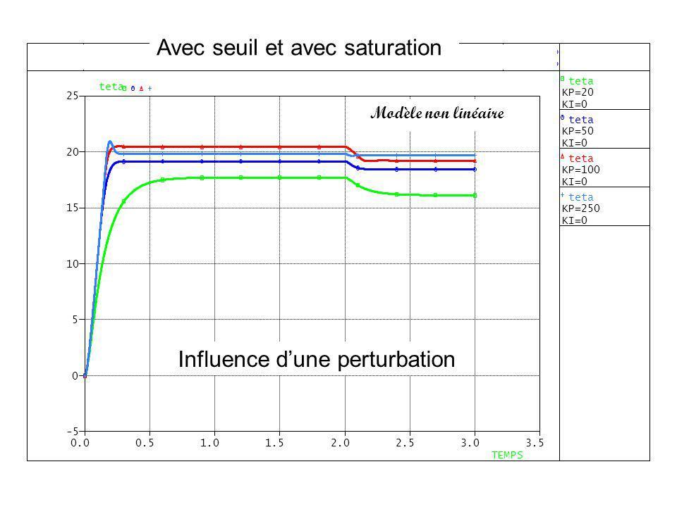 Avec seuil et avec saturation Modèle non linéaire Influence dune perturbation