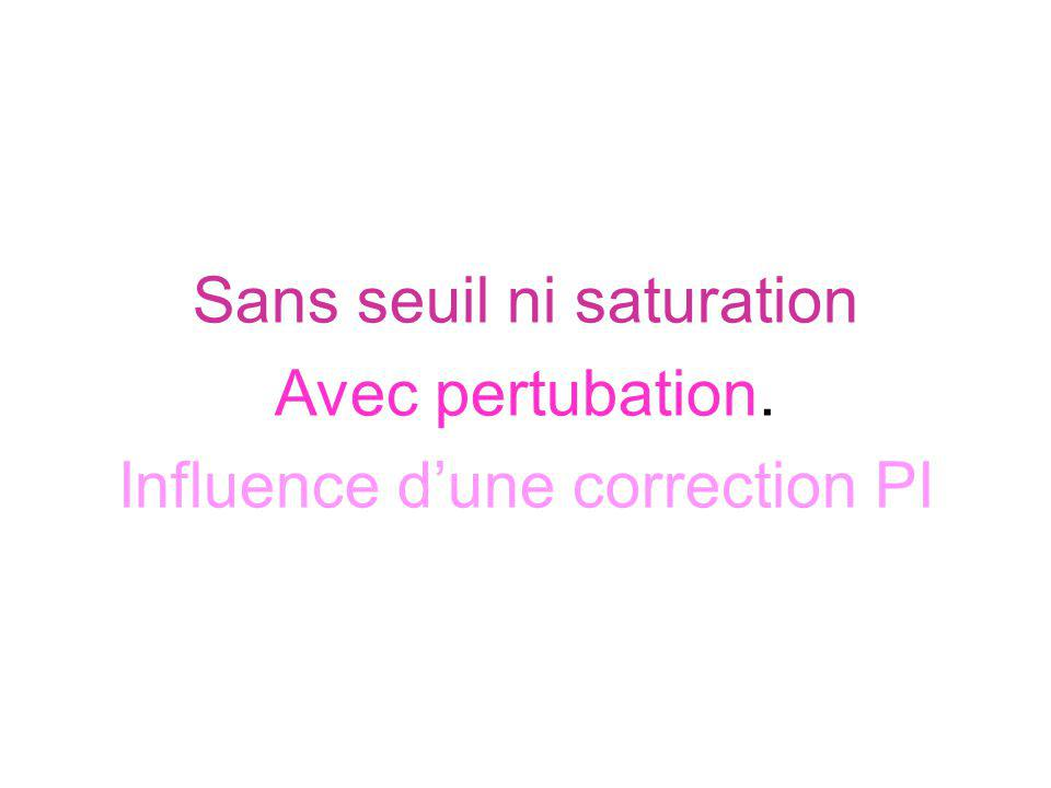 Sans seuil ni saturation Avec pertubation. Influence dune correction PI