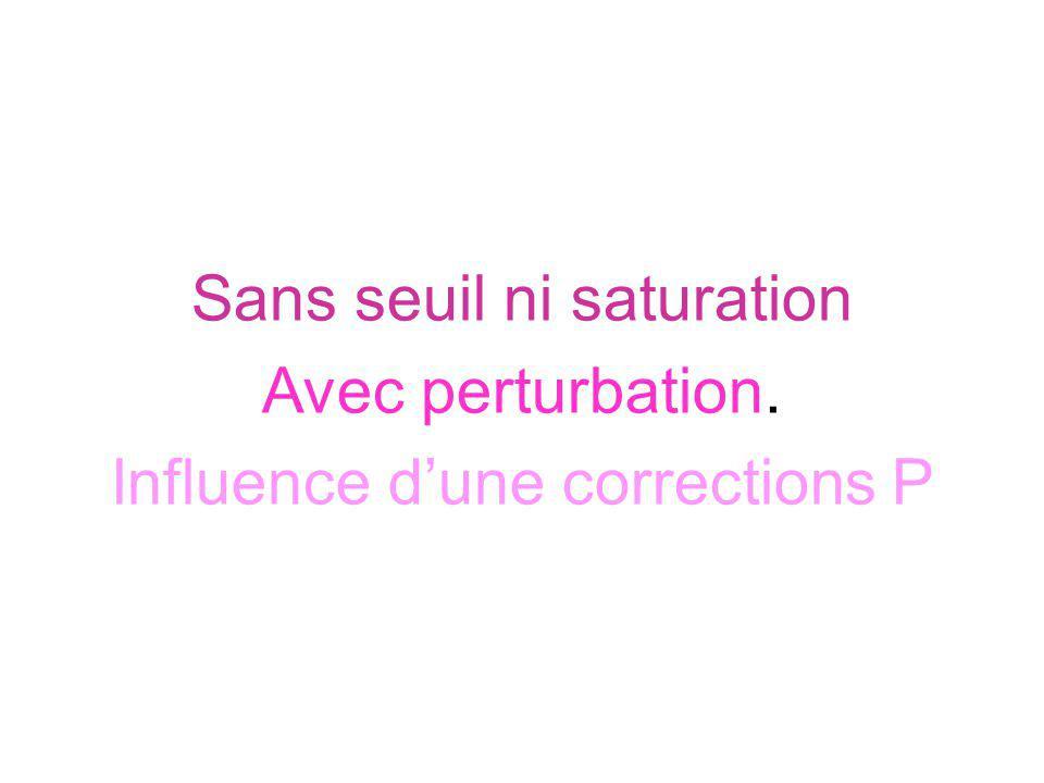 Sans seuil ni saturation Avec perturbation. Influence dune corrections P