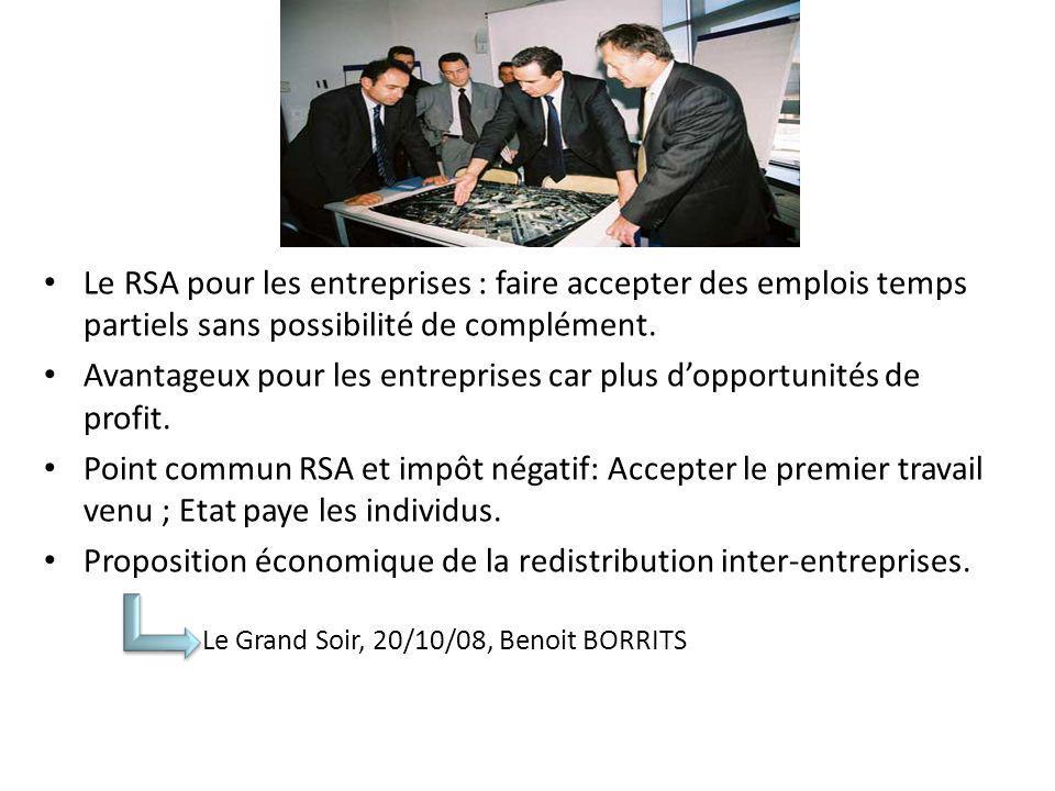 Le RSA pour les entreprises : faire accepter des emplois temps partiels sans possibilité de complément.