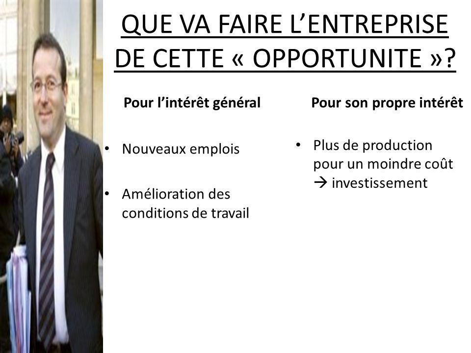 QUE VA FAIRE LENTREPRISE DE CETTE « OPPORTUNITE ».