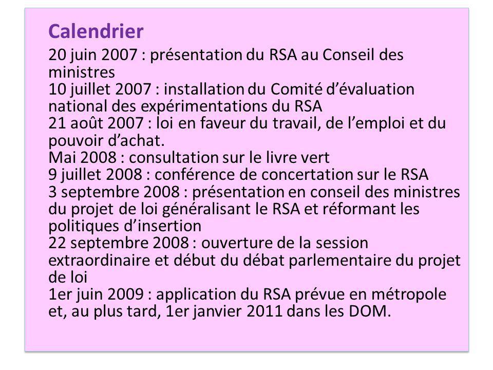 Calendrier 20 juin 2007 : présentation du RSA au Conseil des ministres 10 juillet 2007 : installation du Comité dévaluation national des expérimentations du RSA 21 août 2007 : loi en faveur du travail, de lemploi et du pouvoir dachat.