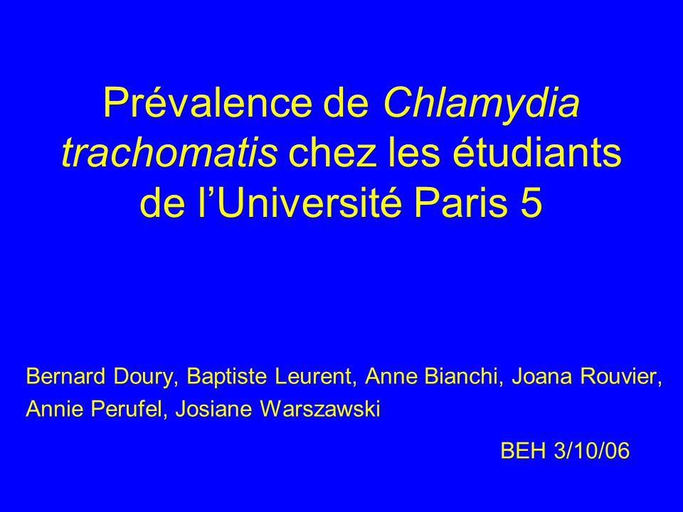 Prévalence de Chlamydia trachomatis chez les étudiants de lUniversité Paris 5 Bernard Doury, Baptiste Leurent, Anne Bianchi, Joana Rouvier, Annie Peru