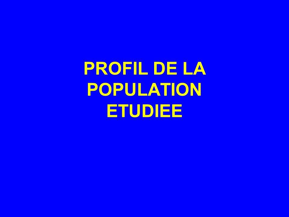 PROFIL DE LA POPULATION ETUDIEE