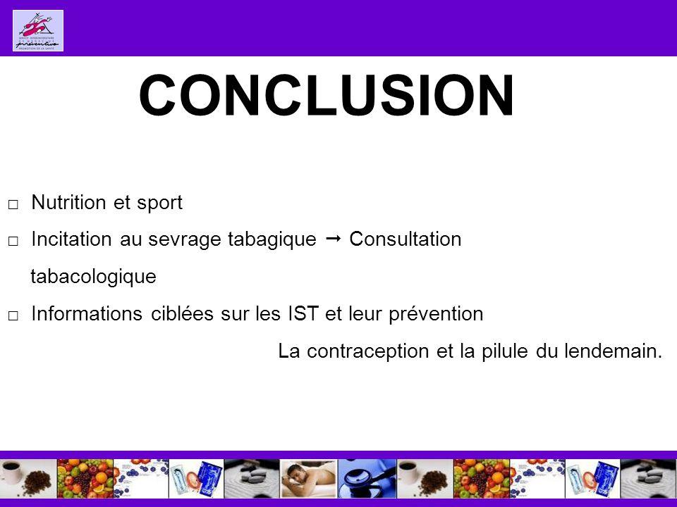 CONCLUSION Nutrition et sport Incitation au sevrage tabagique Consultation tabacologique Informations ciblées sur les IST et leur prévention La contraception et la pilule du lendemain.