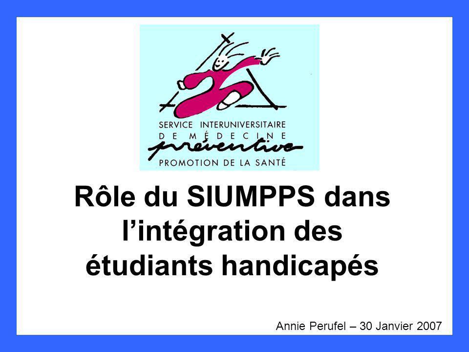 Rôle du SIUMPPS dans lintégration des étudiants handicapés Annie Perufel – 30 Janvier 2007