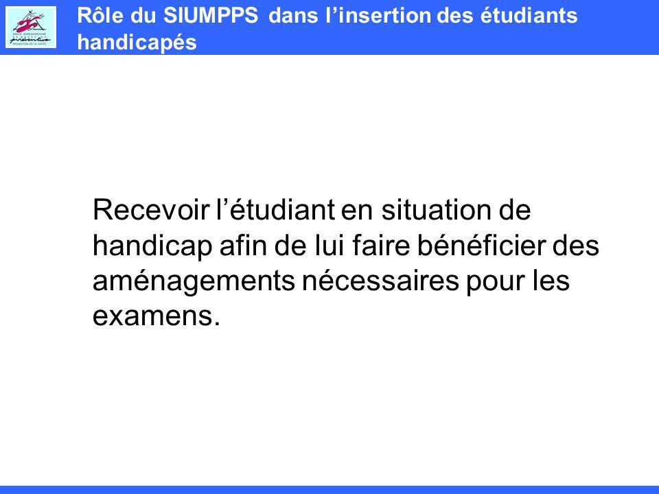 Rôle du SIUMPPS dans linsertion des étudiants handicapés Recevoir létudiant en situation de handicap afin de lui faire bénéficier des aménagements nécessaires pour les examens.
