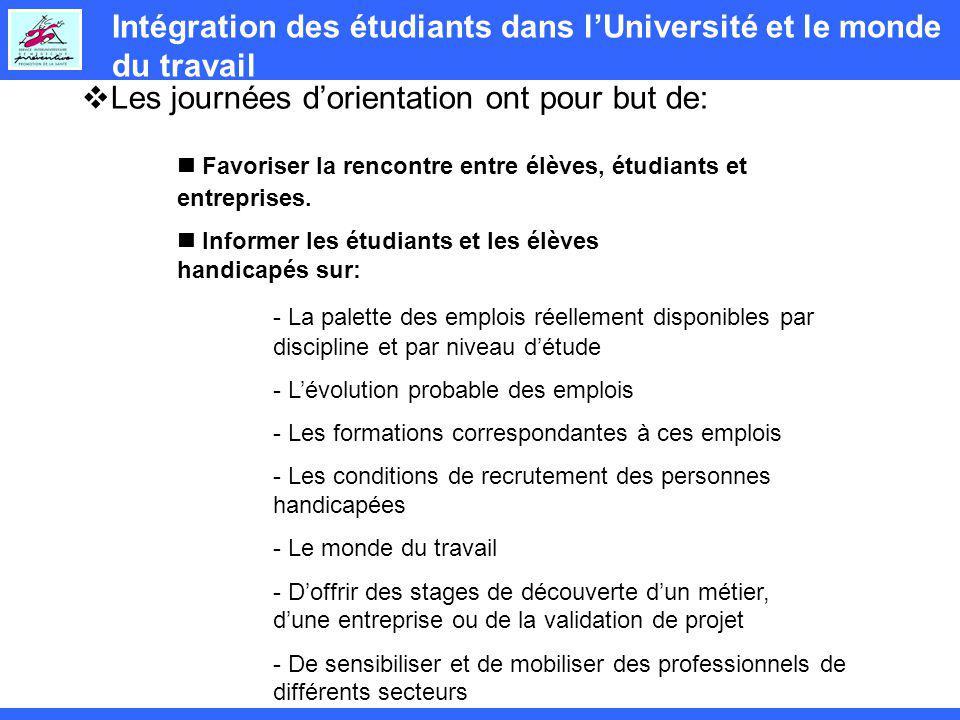 Intégration des étudiants dans lUniversité et le monde du travail Les journées dorientation ont pour but de: Favoriser la rencontre entre élèves, étudiants et entreprises.