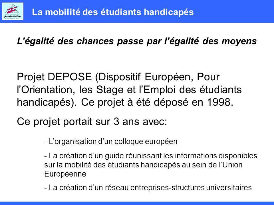 La mobilité des étudiants handicapés Légalité des chances passe par légalité des moyens Projet DEPOSE (Dispositif Européen, Pour lOrientation, les Stage et lEmploi des étudiants handicapés).