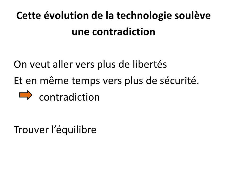 Cette évolution de la technologie soulève une contradiction On veut aller vers plus de libertés Et en même temps vers plus de sécurité.