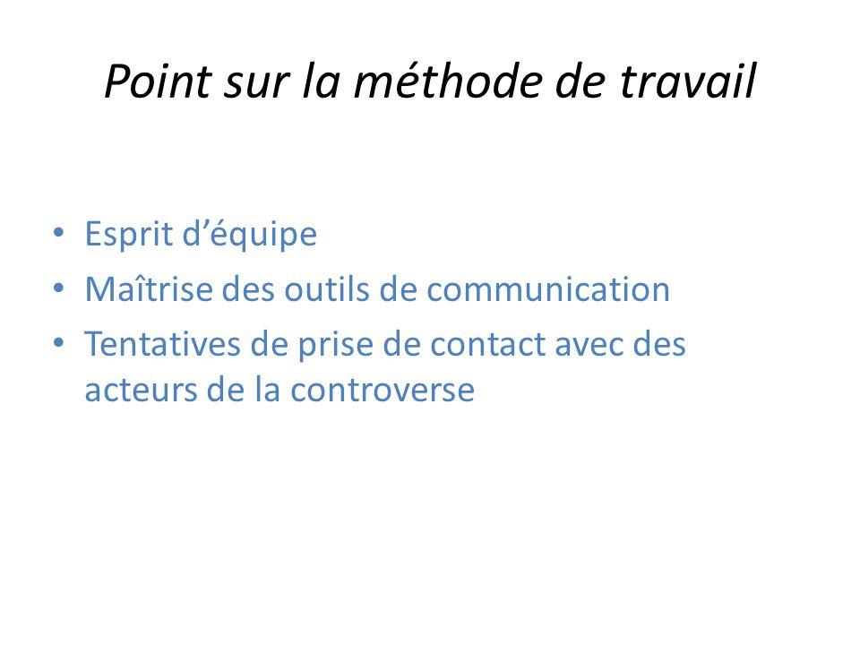 Point sur la méthode de travail Esprit déquipe Maîtrise des outils de communication Tentatives de prise de contact avec des acteurs de la controverse
