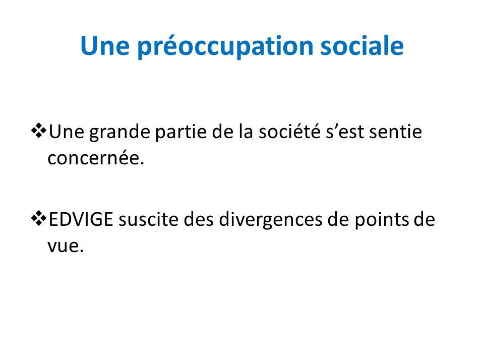 Une préoccupation sociale Une grande partie de la société sest sentie concernée.