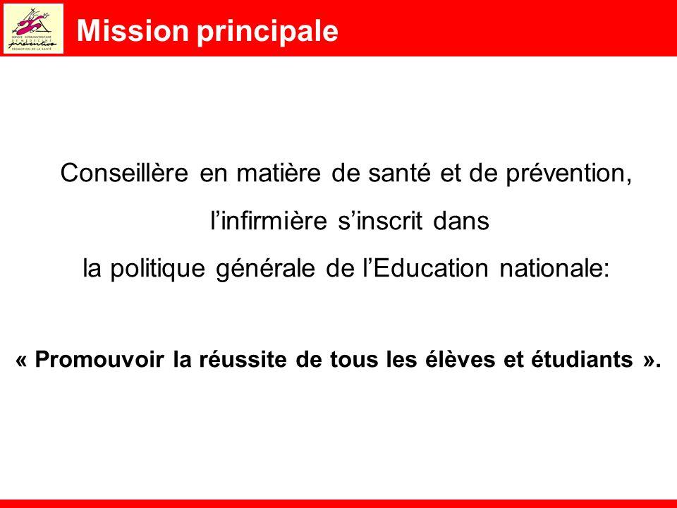 Mission principale Conseillère en matière de santé et de prévention, linfirmière sinscrit dans la politique générale de lEducation nationale: « Promou