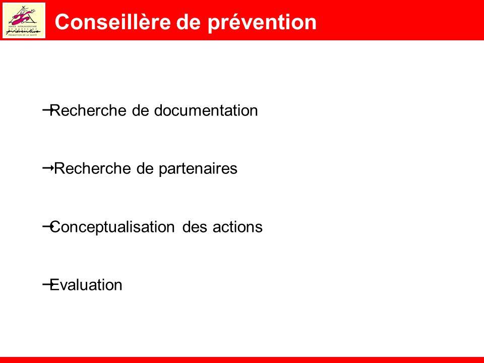 Conseillère de prévention Recherche de documentation Recherche de partenaires Conceptualisation des actions Evaluation