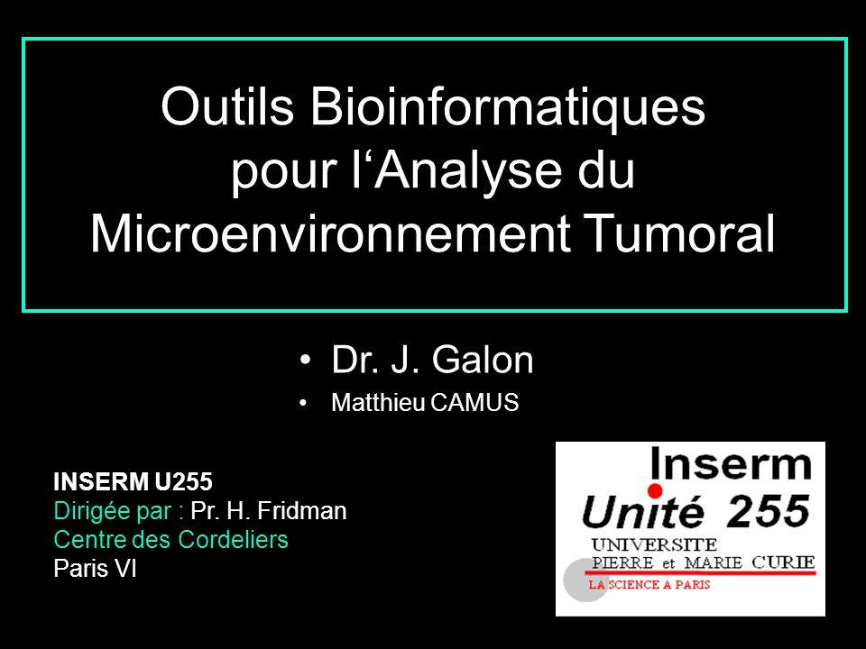 Dr. J. Galon Matthieu CAMUS INSERM U255 Dirigée par : Pr. H. Fridman Centre des Cordeliers Paris VI Outils Bioinformatiques pour lAnalyse du Microenvi