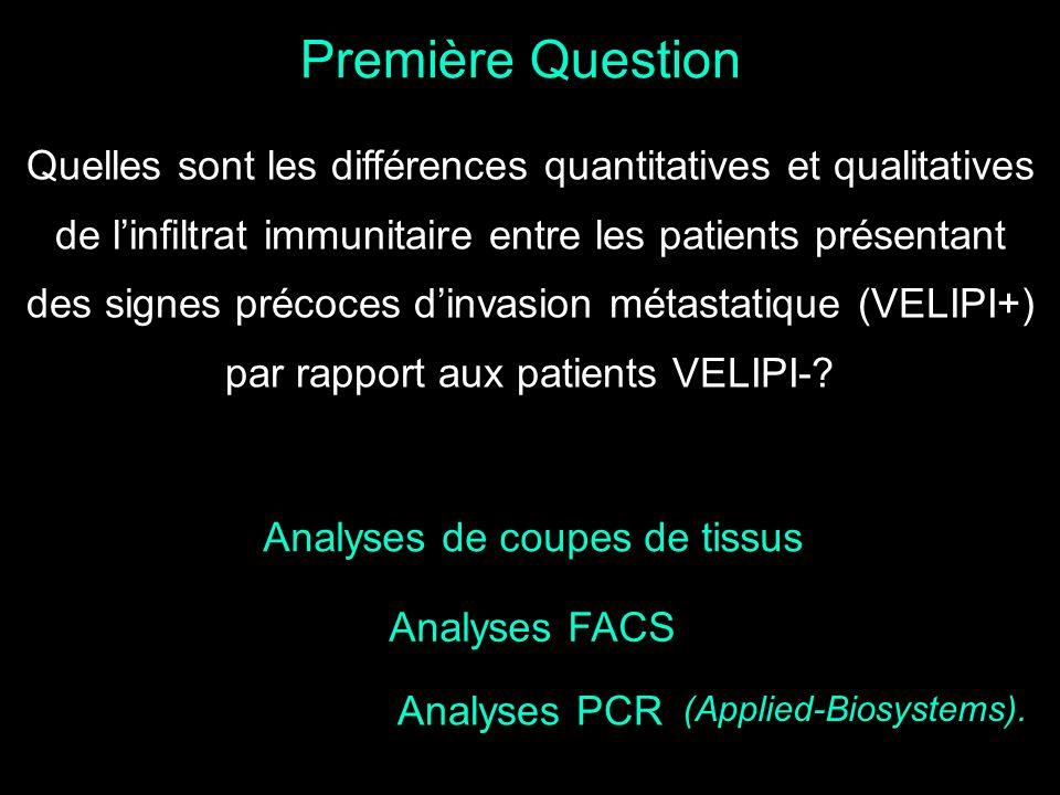 Première Question Quelles sont les différences quantitatives et qualitatives de linfiltrat immunitaire entre les patients présentant des signes précoc