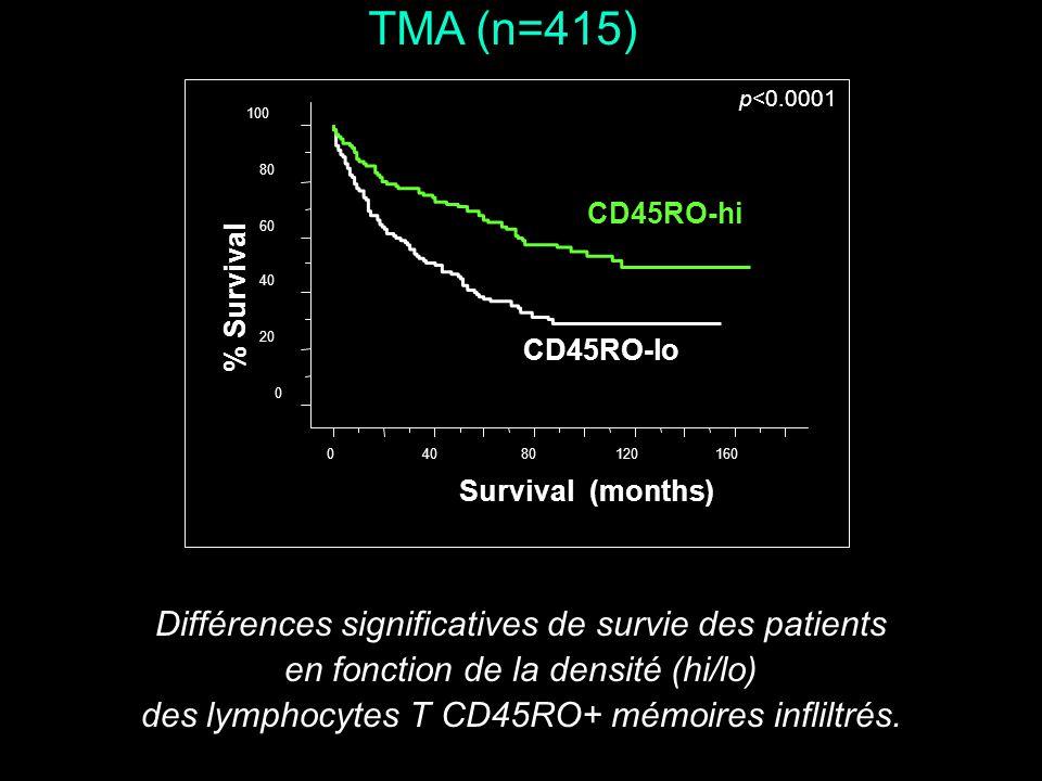 TMA (n=415) 04080120160 Survival (months) CD45RO-hi CD45RO-lo p<0.0001 % Survival 0 20 40 60 80 100 Différences significatives de survie des patients