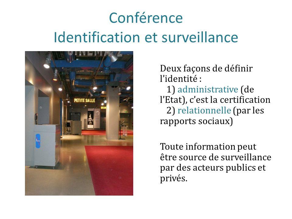 Conférence Identification et surveillance Deux façons de définir lidentité : 1) administrative (de lEtat), cest la certification 2) relationnelle (par les rapports sociaux) Toute information peut être source de surveillance par des acteurs publics et privés.
