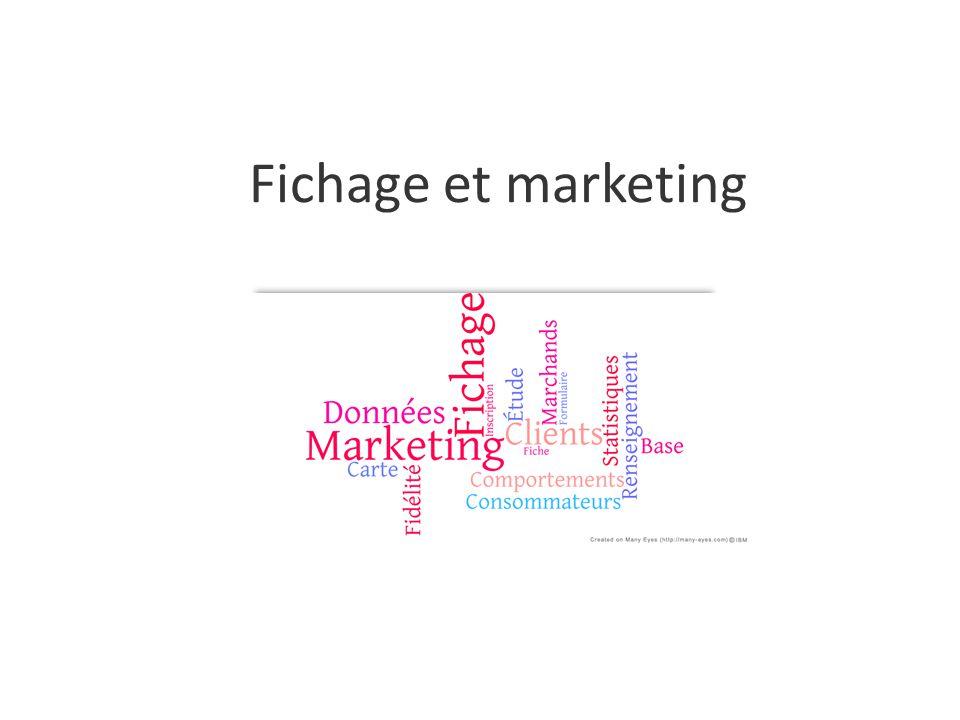 Le fichage marketing ou base de données Outil utilisé par les magasins pour avoir une meilleure connaissance de son marché.