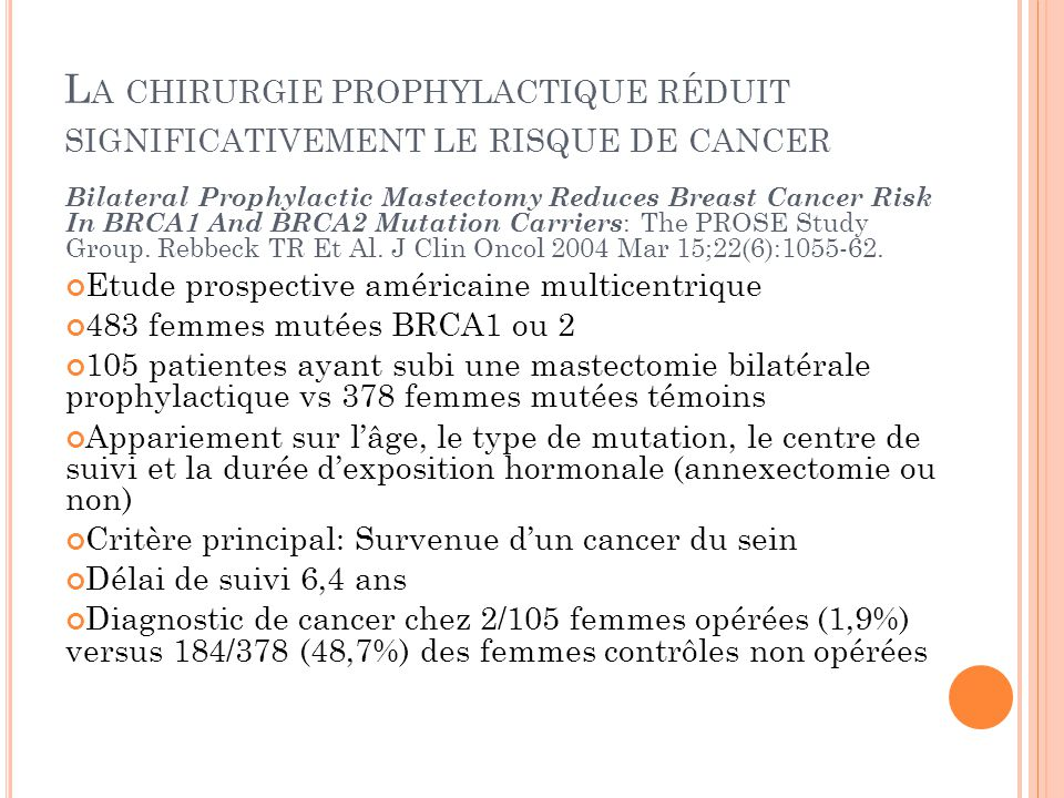 L A CHIRURGIE PROPHYLACTIQUE RÉDUIT SIGNIFICATIVEMENT LE RISQUE DE CANCER Bilateral Prophylactic Mastectomy Reduces Breast Cancer Risk In BRCA1 And BR