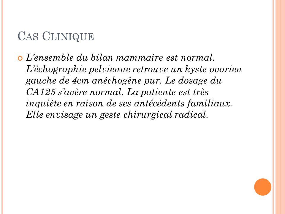 C AS C LINIQUE Lensemble du bilan mammaire est normal. Léchographie pelvienne retrouve un kyste ovarien gauche de 4cm anéchogène pur. Le dosage du CA1
