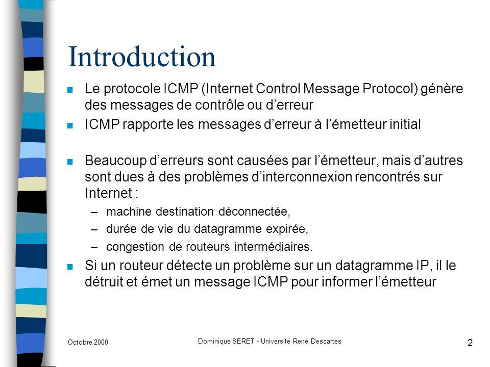 Octobre 2000 Dominique SERET - Université René Descartes 3 Introduction n Les messages ICMP sont véhiculés à lintérieur des datagrammes IP et donc routés comme nimporte quel datagramme n Une erreur engendrée par un message ICMP ne peut donner naissance à un autre message ICMP (pas deffet cumulatif) n Les informations contenues dans un message ICMP sont : TYPE8 bits ; type de message CODE8 bits ; informations complémentaires CHECKSUM16 bits ; champ de contrôle HEAD-DATAen-tête du datagramme incriminé avec 64 premiers bits des données.