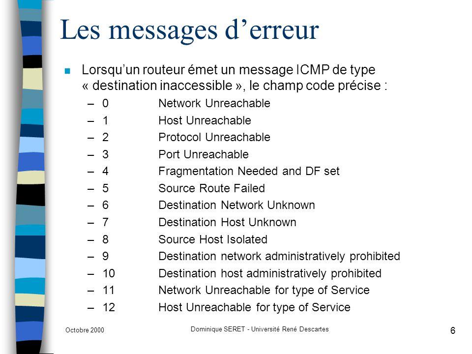 Octobre 2000 Dominique SERET - Université René Descartes 7 Le contrôle de congestion n Le protocole IP fonctionnant en mode non connecté –les routeurs ne peuvent réserver à lavance la mémoire nécessaire au routage des datagrammes ==> des datagrammes peuvent donc être détruits.