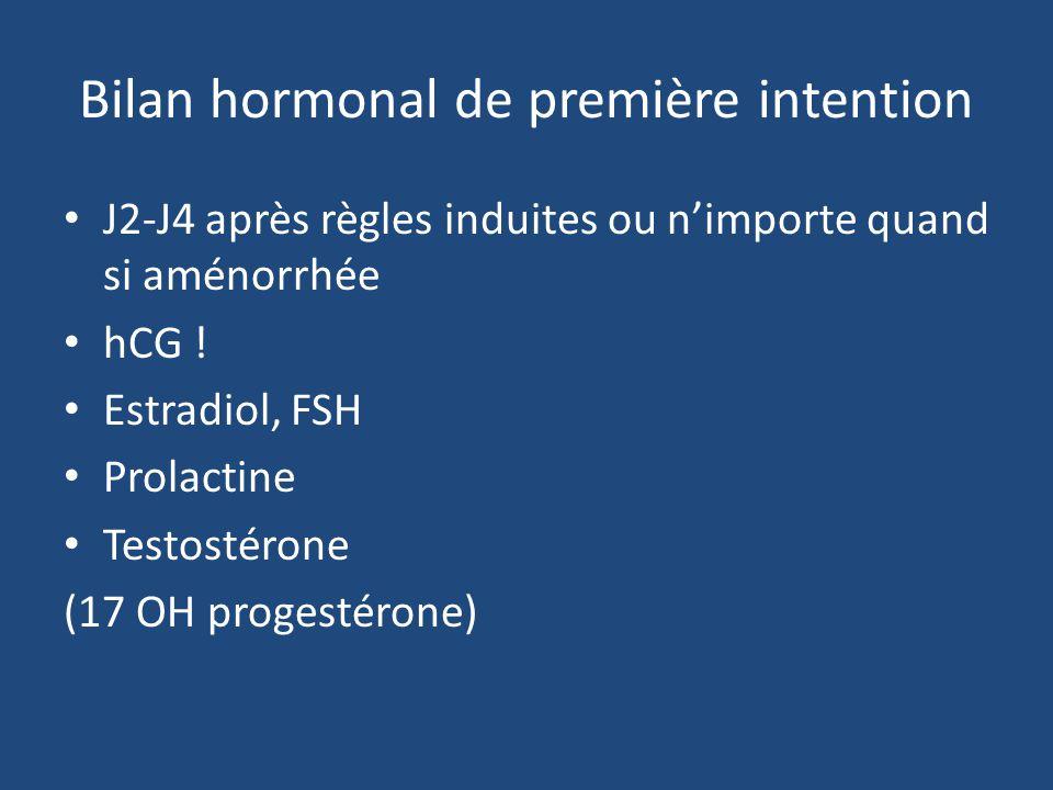 Bilan hormonal de première intention J2-J4 après règles induites ou nimporte quand si aménorrhée hCG ! Estradiol, FSH Prolactine Testostérone (17 OH p