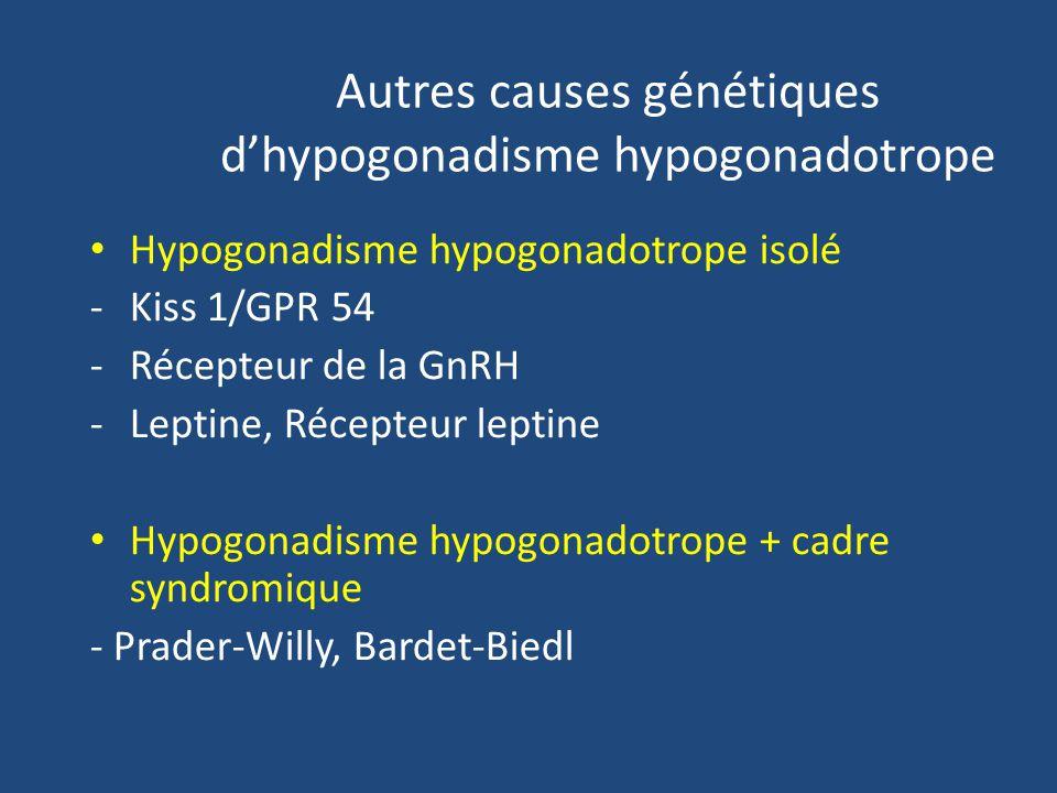 Autres causes génétiques dhypogonadisme hypogonadotrope Hypogonadisme hypogonadotrope isolé -Kiss 1/GPR 54 -Récepteur de la GnRH -Leptine, Récepteur leptine Hypogonadisme hypogonadotrope + cadre syndromique - Prader-Willy, Bardet-Biedl