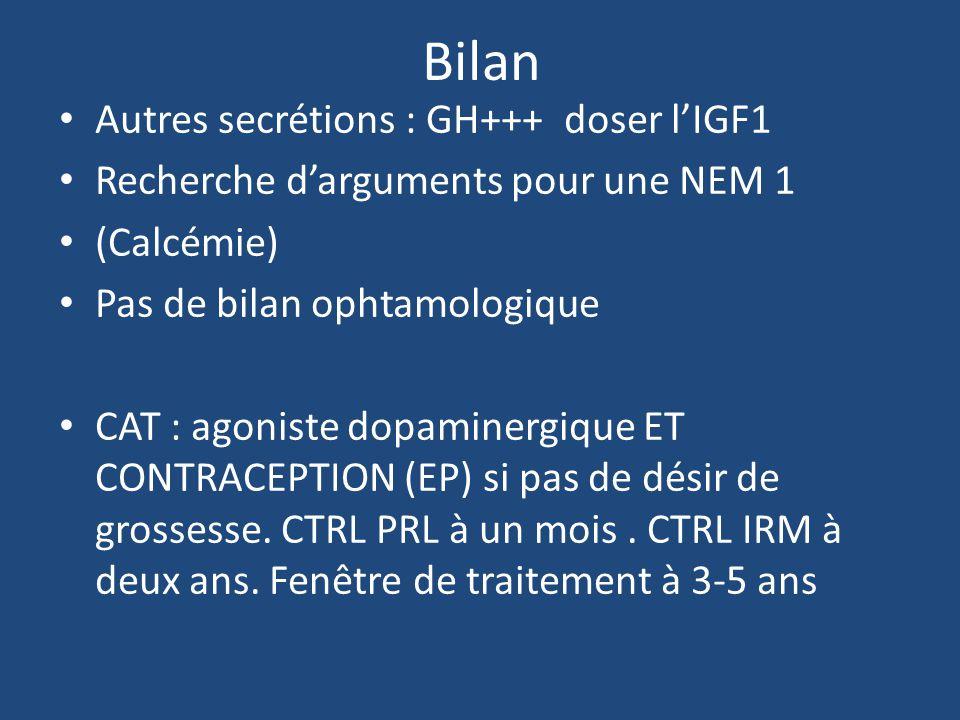 Bilan Autres secrétions : GH+++ doser lIGF1 Recherche darguments pour une NEM 1 (Calcémie) Pas de bilan ophtamologique CAT : agoniste dopaminergique ET CONTRACEPTION (EP) si pas de désir de grossesse.