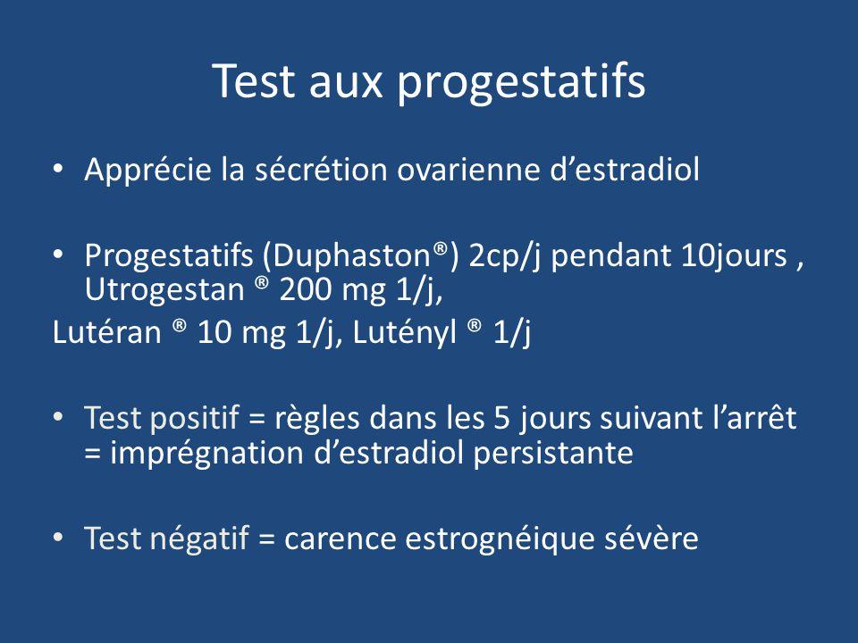Test aux progestatifs Apprécie la sécrétion ovarienne destradiol Progestatifs (Duphaston®) 2cp/j pendant 10jours, Utrogestan ® 200 mg 1/j, Lutéran ® 1