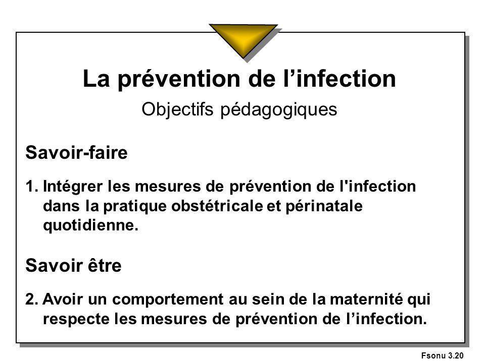 Fsonu 3.20 La prévention de linfection Objectifs pédagogiques Savoir-faire 1.