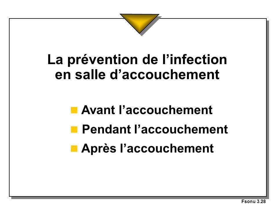Fsonu 3.28 La prévention de linfection en salle daccouchement n Avant laccouchement n Pendant laccouchement n Après laccouchement
