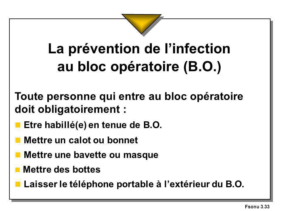 Fsonu 3.33 La prévention de linfection au bloc opératoire (B.O.) Toute personne qui entre au bloc opératoire doit obligatoirement : n Etre habillé(e) en tenue de B.O.