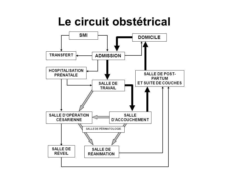 Le circuit obstétrical DOMICILE SMI HOSPITALISATION PRÉNATALE SALLE DE POST- PARTUM ET SUITE DE COUCHES SALLE DE TRAVAIL TRANSFERT SALLE DOPÉRATION CÉSARIENNE SALLE DACCOUCHEMENT SALLE DE RÉANIMATION SALLE DE PÉRINATOLOGIE SALLE DE RÉVEIL ADMISSION