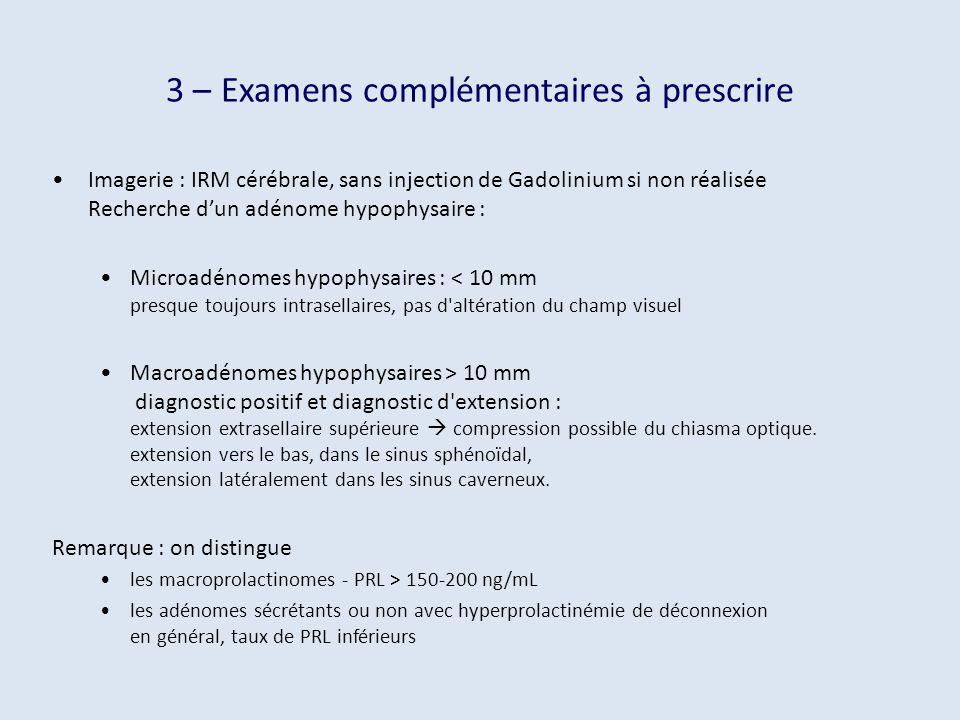 3 – Examens complémentaires à prescrire Imagerie : IRM cérébrale, sans injection de Gadolinium si non réalisée Recherche dun adénome hypophysaire : Mi