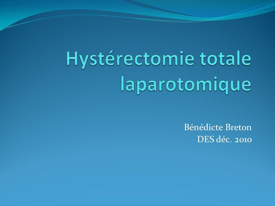 Indications hystérectomie totale Bénignes Fibrome Adénomyose Ménométrorragies après échec dun traitement médicamenteux Algies chroniques pelviennes Suspectes Hyperplasie endométriale Dysplasies cervicales